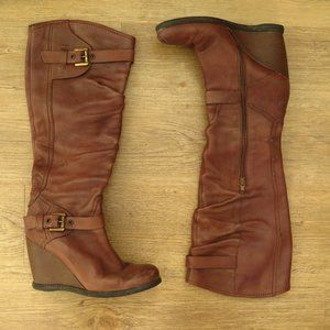 Brown's Genuine Italian Leather Boots with Wedge